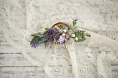 Ozdoby do vlasov - Fialkový kvetinový hrebienok do vlasov - LÚKA - 10733554_