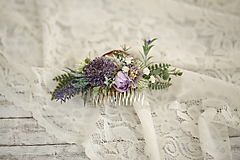 Ozdoby do vlasov - Fialkový kvetinový hrebienok do vlasov - LÚKA - 10733556_