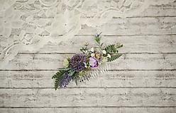 Ozdoby do vlasov - Fialkový kvetinový hrebienok do vlasov - LÚKA - 10733557_