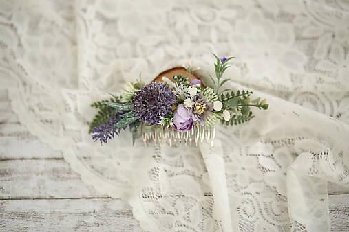 Fialkový kvetinový hrebienok do vlasov - LÚKA
