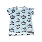 Detské oblečenie - Tričko - Apples dusty blue krátky rukáv - 10733951_