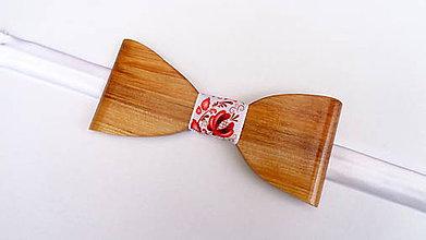 Doplnky - Pánsky drevený motýlik - folk červený - 10731954_