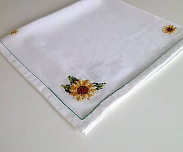 Úžitkový textil - Vyšívaný ubrus - slunečnice - 10733256_