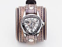 Náramky - Vintage kožené hodinky,remienok z pravej kože - 10733941_