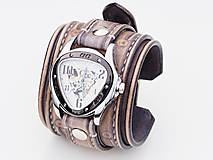 Náramky - Vintage kožené hodinky,remienok z pravej kože - 10733942_