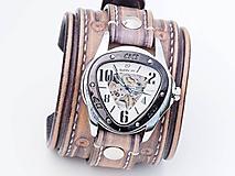 Náramky - Vintage kožené hodinky,remienok z pravej kože - 10733943_