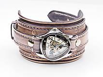 Náramky - Vintage kožené hodinky,remienok z pravej kože - 10733944_