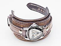Náramky - Vintage kožené hodinky,remienok z pravej kože - 10733945_