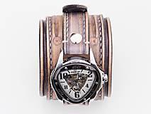 Náramky - Vintage kožené hodinky,remienok z pravej kože - 10733946_
