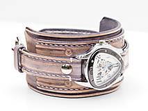 Náramky - Vintage kožené hodinky,remienok z pravej kože - 10733947_