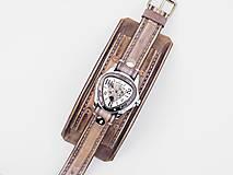 Náramky - Vintage kožené hodinky,remienok z pravej kože - 10733948_