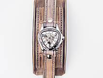 Náramky - Vintage kožené hodinky,remienok z pravej kože - 10733949_