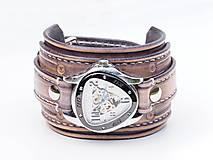 Náramky - Vintage kožené hodinky,remienok z pravej kože - 10733950_