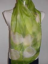 Šály - Hodvábny šál zelený s tulipánmi - 10733714_