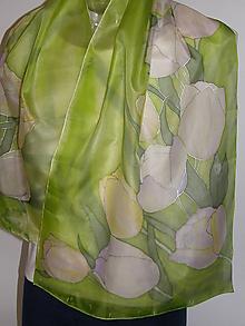 Šály - Hodvábny šál zelený s tulipánmi - 10733713_