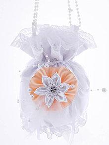 Kabelky - Pompadúrka kabelka svadobná biela , kabelka pre nevestu 14 (Šedá) - 10730713_