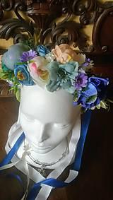Ozdoby do vlasov - Svadobná parta v modrej - 10731812_