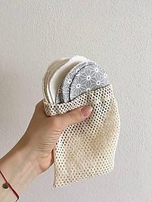 Úžitkový textil - ZEROWASTE odličovacie tampóny- malá sada- priemer 7,5 cm - 10733293_
