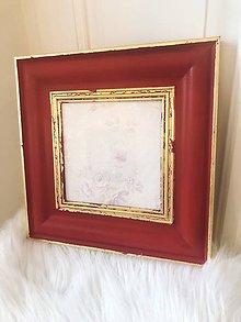 Rámiky - Červený rámik so zlatým detailom - 10730866_
