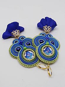 Náušnice - Náušničky s folk kabošonom (Modrá) - 10731142_