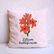 Úžitkový textil - Ľanová obliečka na vankúš Ľalia cibuľkonosá/Lilium bulbiferum - 10732589_