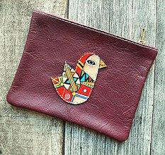 Taštičky - Ptáček červený - kožená taštička - 10731244_