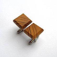 Šperky - Drevené manžetové gombíky - olivovníkové štvoruholníky - 10732888_