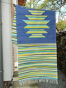 Úžitkový textil - modro pestrý koberec - 10735223_