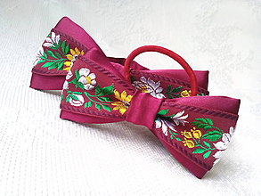 Iné doplnky - Folklórny set (pánsky motýlik + mašlička do vlasov) - 10734962_