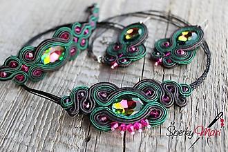 Sady šperkov - šujtášová súprava smaragdovozelená - 10735730_