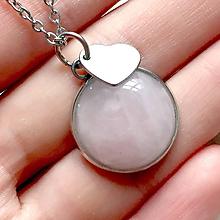 Náhrdelníky - Rose Quartz Heart Pendant (Stainless Steel) / Prívesok s ruženínom a srdcom, oceľ - 10734317_