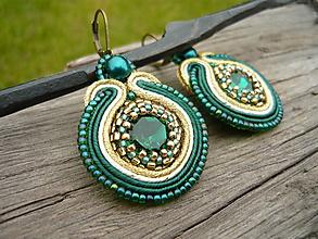 Náušnice - Soutache náušnice Luxury Gold & Smaragd - 10736929_
