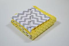 Textil - Minky žltá deka so sivým chevronom 70*100cm - 10736858_
