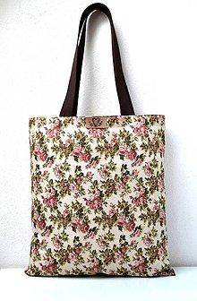 Nákupné tašky - Nákupná taška (Taška s ružičkami a hnedými rúčkami) - 10735572_