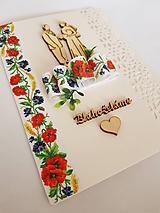 gratulačná folklórna svadobná pohľadnica