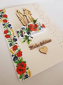 """Papiernictvo - gratulačná folklórna svadobná pohľadnica """"lúčne kvietky""""  s drevenými výrezmi a mašľou - 10735406_"""