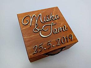 Krabičky - Drevená krabička na prstene - 10735127_