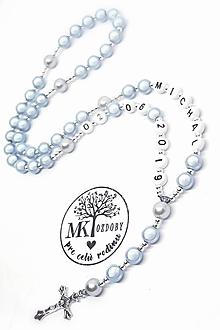 Iné šperky - Žiarivý ruženec bez shamballa  (Bledomodrý) - 10736106_