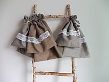 Úžitkový textil - Ľanové vrecká prírodné 2ks - 10736950_
