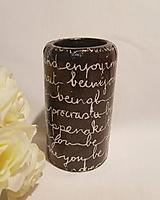 Svietidlá a sviečky - Svietnik na čajovú sviečku - čiernobiely, písmenkový I. - 10736315_
