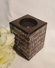 Svietidlá a sviečky - Svietnik na čajovú sviečku - čiernobiely, písmenkový II. - 10736320_