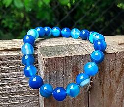Náramky - Náramok modrý achát + náušnice - 10735244_