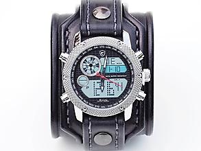 Náramky - Steampunk hodinky, kožený remienok, hnedý remienok - 10736837_