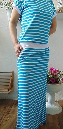 Šaty - Dlouhé šaty tyrkys pruhy S - XXXL - 10736958_