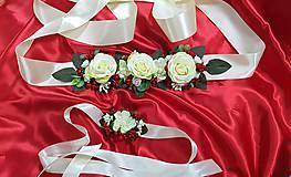 Iné doplnky - Svadobný béžovo-červený kvetinový set - opasok a náramok - 10735171_
