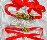 Iné doplnky - Červeno-žltý svadobný kvetinový set, náramok a opasok - 10735656_