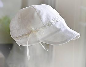 Detské čiapky - Šiltovka 100% ľan-natural biela s madeirovou stužkou - 10737202_