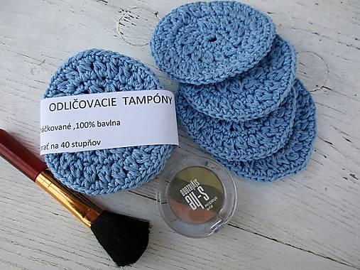 Háčkované odličovacie tampóny-modrá