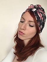 Čiapky - Turbanová čiapka- kvetovaná čierna - 10734147_