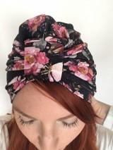 Čiapky - Turbanová čiapka- kvetovaná čierna - 10734151_